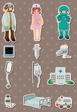 Cartoon hospital stickers Royalty Free Stock Images