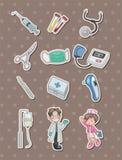 Cartoon hospital stickers. Cute cartoon vector illusttration Royalty Free Stock Photo