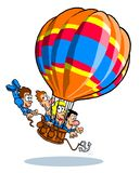 Cartoon hot air balloon ride Royalty Free Stock Images