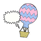 Cartoon hot air balloon with speech bubble Royalty Free Stock Photo