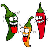Cartoon hot chili peppers Royalty Free Stock Image