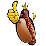 Cartoon hot dog king making a thumbs up gesture Royalty Free Stock Image