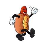 Cartoon hot dog man Stock Images