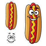 Cartoon hot dog with mustard Stock Photography