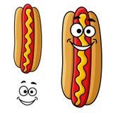 Cartoon hot dog with mustard Stock Photography
