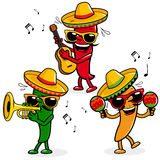 Cartoon hot mariachi peppers Stock Photography