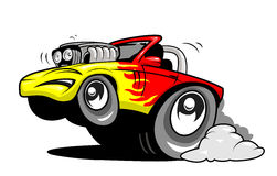 Cartoon hot rod. Fast cartoon hot rod car Stock Photo