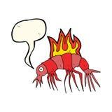 Cartoon hot shrimp with speech bubble Stock Photo