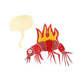 cartoon hot shrimp with speech bubble Royalty Free Stock Images