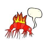 Cartoon hot shrimp with speech bubble Royalty Free Stock Photography