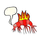 cartoon hot shrimp with speech bubble Royalty Free Stock Photo
