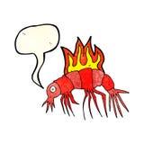Cartoon hot shrimp with speech bubble Royalty Free Stock Photo
