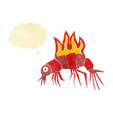 Cartoon hot shrimp with thought bubble Stock Photos