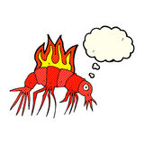 Cartoon hot shrimp with thought bubble Royalty Free Stock Photography