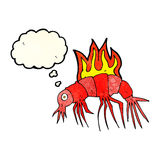 cartoon hot shrimp with thought bubble Stock Photography