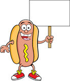Cartoon hotdog holding a sign Stock Images