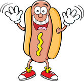 Cartoon hotdog waving Stock Images