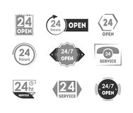 Cartoon 24 Hours Open Service Tag Icon Set. Vector. Cartoon 24 Hours Open Service Black Tag Icon Set Retail Store and Delivery Concept Flat Design Style. Vector Stock Image