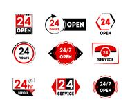 Cartoon 24 Hours Open Service Tag Icon Set. Vector. Cartoon 24 Hours Open Service Tag Icon Set Retail Store and Delivery Concept Flat Design Style. Vector Stock Images