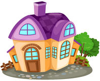 Cartoon house. Illustration of isolated cartoon house with tree Stock Photography