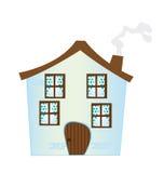 Cartoon house. Blue cartoon house isolated over white background. vector Stock Image