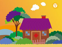 Cartoon house. With tree,cloud,grass over sky with sun background Royalty Free Stock Photography