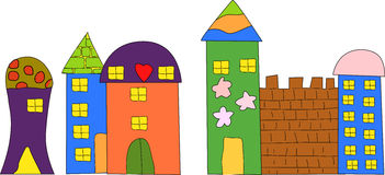 Cartoon house. Vector drawing of home.cute and colorful Royalty Free Stock Photo