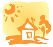 Cartoon house. And sun on a yellow background Royalty Free Stock Image