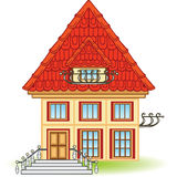 Cartoon house with balcony Stock Photo
