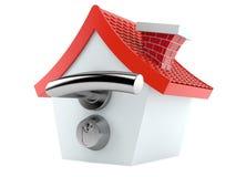 Cartoon house with big door handle Royalty Free Stock Image