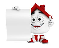 Cartoon house with blank paper Stock Photo