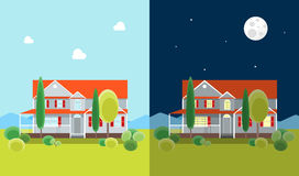 Cartoon House Building Day and Night. Vector Royalty Free Stock Photo