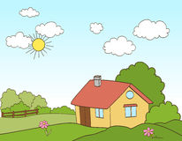 Cartoon house in countryside. vector Stock Photography