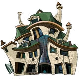 Cartoon house curve. Cartoon design three-story house curve Royalty Free Stock Photography