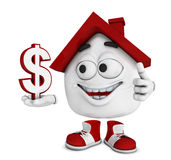 Cartoon house with a dollar sign. Illustration of a smiling cartoon house with a thumb up holding a dollar sign, white background Royalty Free Stock Photography