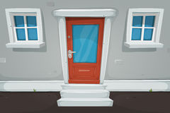 Cartoon House Door And Windows In The Street Stock Photos
