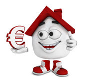 Cartoon house with Euro symbol Stock Photos