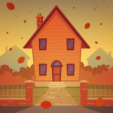 Cartoon House. Front view of the cartoon house with cityscape in background. In autumn season Royalty Free Stock Photography