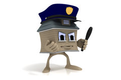 Cartoon House Guy Security Stock Image