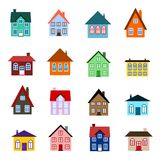Cartoon house icon. House set - colourful home icon collection. Illustration group. Private residential architecture Royalty Free Stock Images