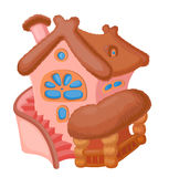Cartoon house. Little fairy house with a reed roof and staircase Royalty Free Stock Photos