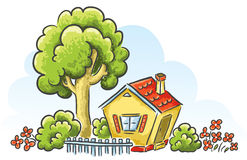 Cartoon house. With a little garden Royalty Free Stock Photography