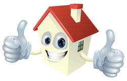 Cartoon House Mascot. Illustration of a cartoon house mascot giving a double thumbs up Stock Photos