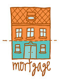 Cartoon house with mortgage Stock Images