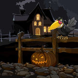 Cartoon house at night with a crow with a pumpkin at the fence Stock Image