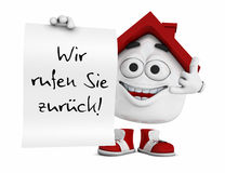 Cartoon house with note. A cartoon house with a note in German Wir rufen Sie zurück! (We call you back Royalty Free Stock Photo