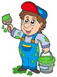 Cartoon house painter Royalty Free Stock Image