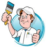 Cartoon house painter logo. Cartoon house painter holding a brush