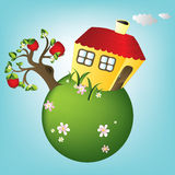 Cartoon house on planet, vector Royalty Free Stock Image