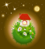 Cartoon house with red roof royalty free illustration